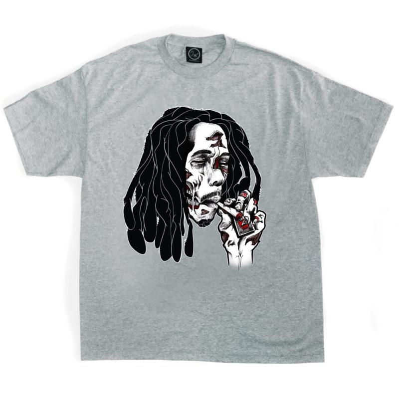 bob_marley_zombie_living_dead_reggae_swag_2ill_two_ill_clothing_heather_grey_tee_walking_dead